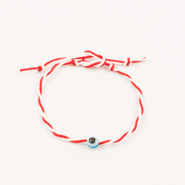 Βραχιόλι Κόκκινο-Λευκό Μάτι Τυρκουάζ 9f551788273
