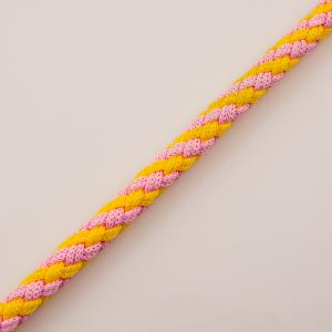 Knitted Cord Pink-Yellow 12mm
