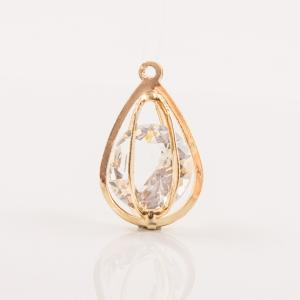 Gold Plated Oval Pendant Crystal 3x2cm