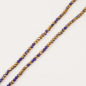 Polygonal Beads Blue-Copper 6mm