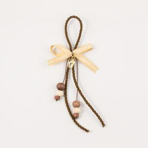 "Charm Brown ""17"" Wishes Ribbon Beige"
