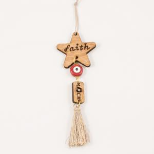 "Charm Star ""Faith"" Beige Tassel"