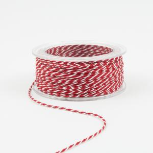 Twisted Cord Red-White 1mm