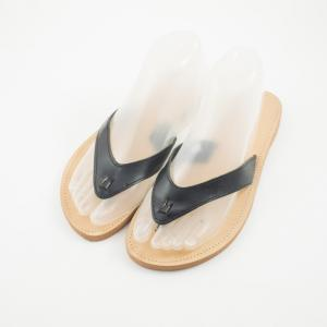 Leather Flip Flops  Black-Natural