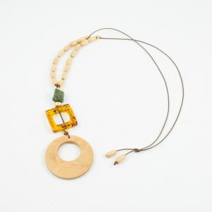 Wooden Necklace Beige