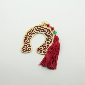 Charm 2019 Horseshoe Enamel Red Tassel