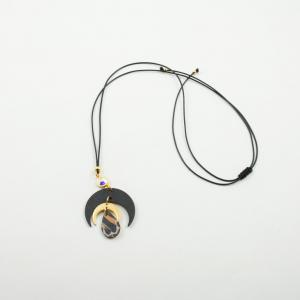 Necklace Crescent Moon Black Golden