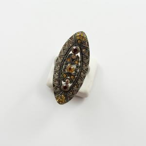 Ring Bronze Oval Zircons Brown