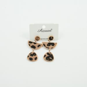Steel Earrings Two Motifs Leopard