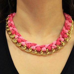 Necklace Chain with Cotton Fuchsia