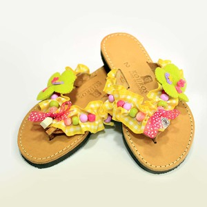 Leather Flip Flops Flower