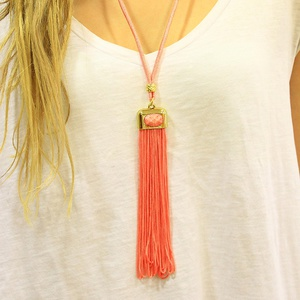 Necklace with Pink Tassel