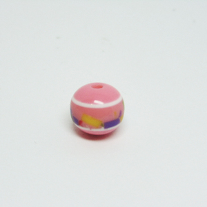 Acrylic Bead Striped Pink-White (10mm)