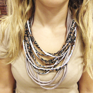 Necklace Cotton Beige-Animal Print