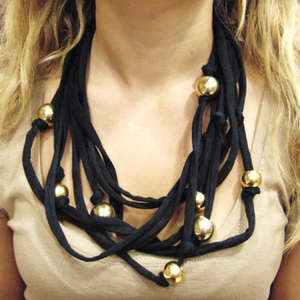 Necklace Cotton Black Beads