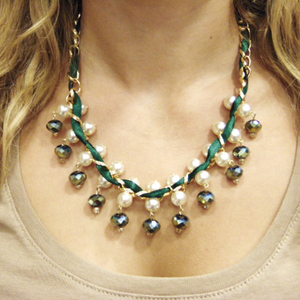 Necklace Chain Green Crystal