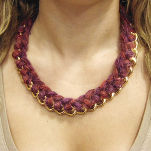 Necklace Knitted Chain Purple