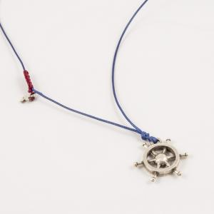 Necklace Blue Cord Rudder Silver
