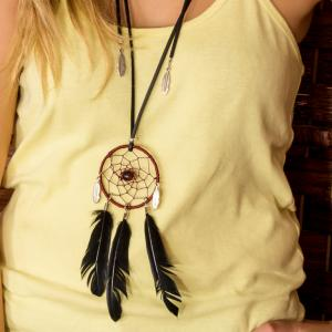 Dreamcatcher Necklace with Feathers