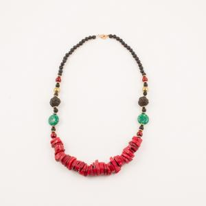 Necklace with Coral and Lava