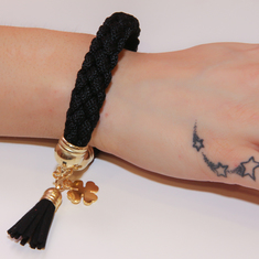 Bracelet with Knitted Black Cord