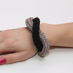 Bracelet Knitted Gray-Black