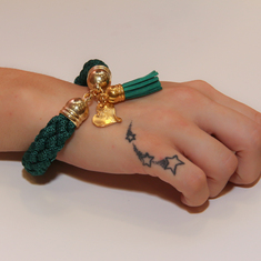 Bracelet Knitted Cord Green
