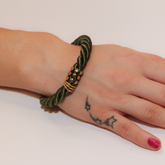 Bracelet Cord Khaki with Braid Gold