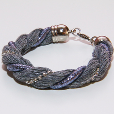 Bracelet Twisted Gray Cord
