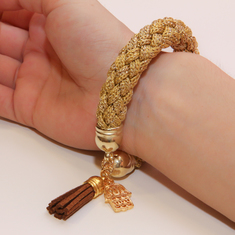 Bracelet Knitted Cord Gold with Hand