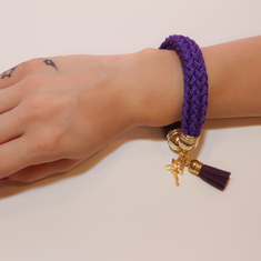Bracelet Knitted Cord Purple
