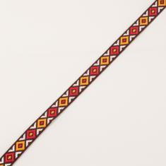 Ethnic Ribbon Burgundy-Multicolored 13mm