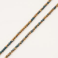 Polygonal Beads Teal-Copper 6mm