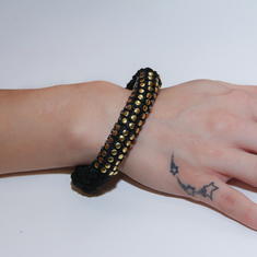 Bracelet Knitted Black with Gold