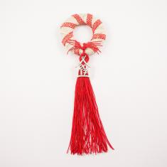 Charm Wreath Burlap Red Tassel