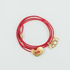 Bracelet Red Wrapped Gold Heart