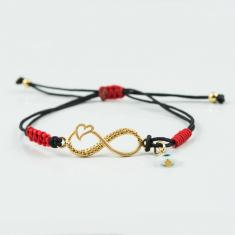 Bracelet Black Infinity-Heart Gold