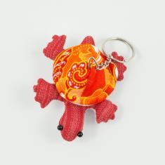 Keyring Turtle Red 8x6.5cm