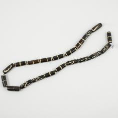 Bone Beads Dark Brown 2.5x0.9cm