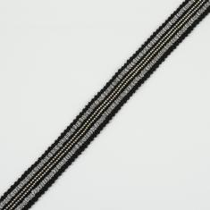 Ribbon with Chain Black-Silver 20mm