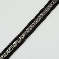 Ribbon with Chain Black-Gun 25mm