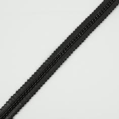 Ribbon with Chain Black-Nickel 20mm