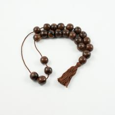 Worry Beads Round Obsidian Brown Black