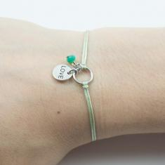 "Bracelet Light Green-Motif ""Love"""