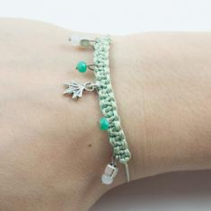 Bracelet Light Green-Leaf Silver