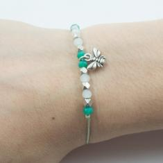 Bracelet Light Green-Bee Silver
