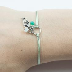 Bracelet Light Green-Feather Silver