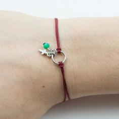 Bracelet Burgundy-Cross Silver