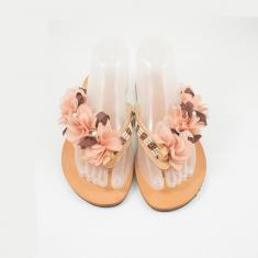 "Leather Flip Flops ""Flowers"""