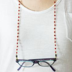 Eyewear Chain Gold Beads Red